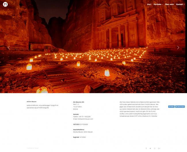 Social Media für Fotografen Beispiel Website Achim Meurer