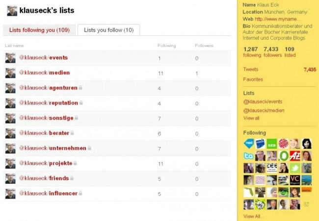 Meine Twitterlisten