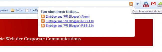 RSS Abonnement Auswahl
