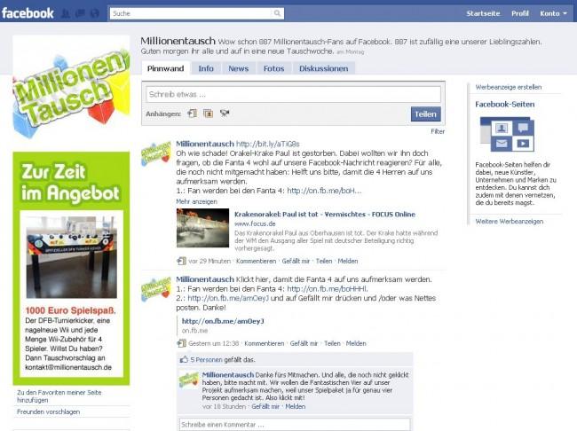 Facebook Millionentausch
