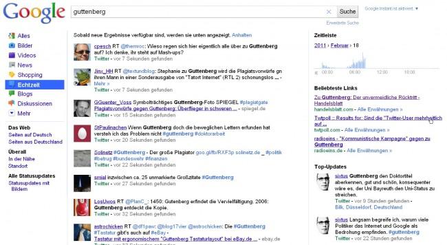 Google Echtzeitsuche Guttenberg