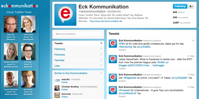 Twitter-Account Eck Kommunikation