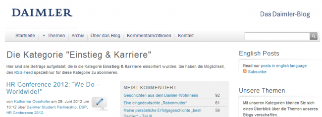 Daimler Blog Karriere