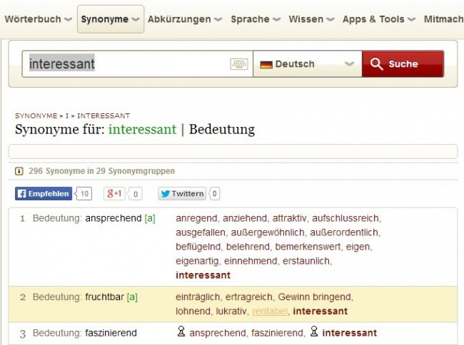 """Interessant"" im Woxikon"