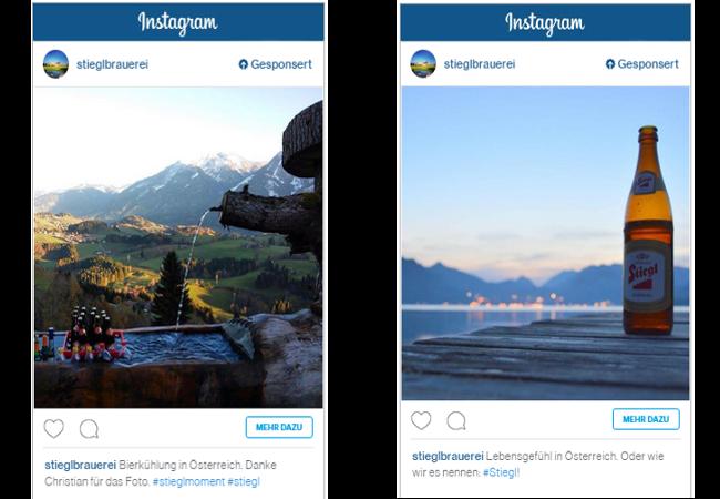 Zwei Beispiele der Stiegl-Ad-Kampagne bei instagram.