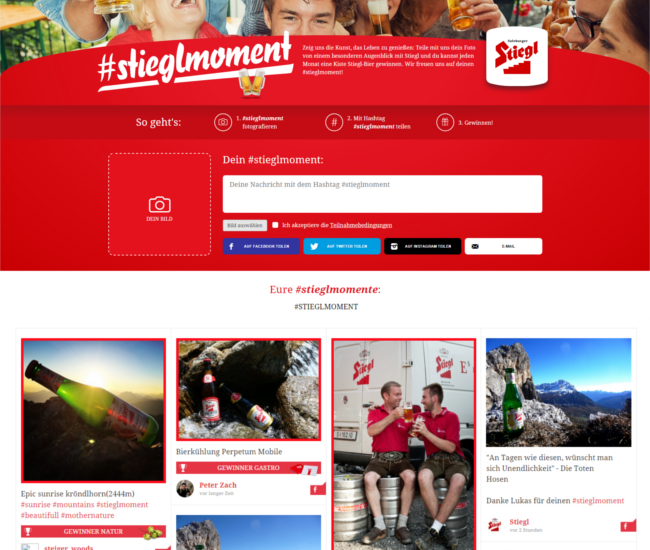 Screenshot Stieglmoment Microsite