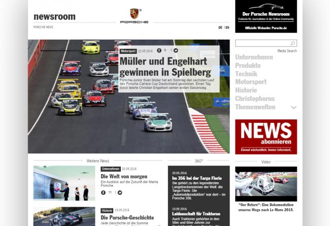 Beispiel: Der Porsche Newsroom