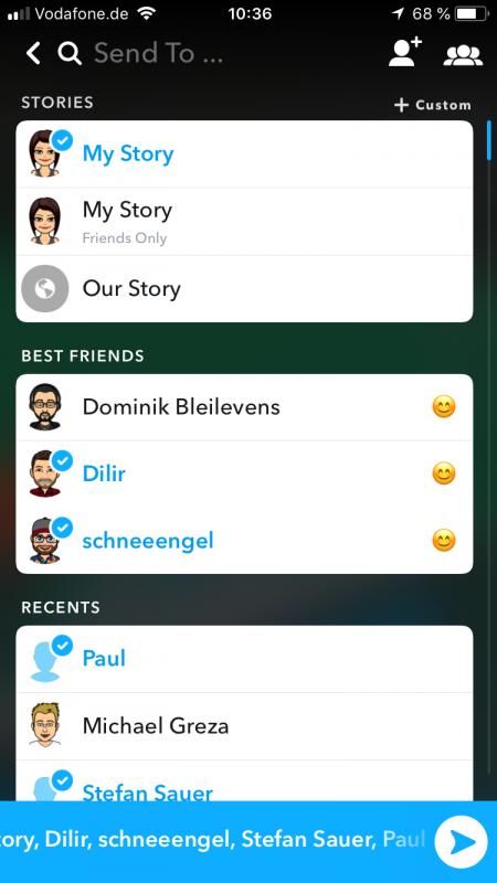 Snapchat Tutorial Snap senden