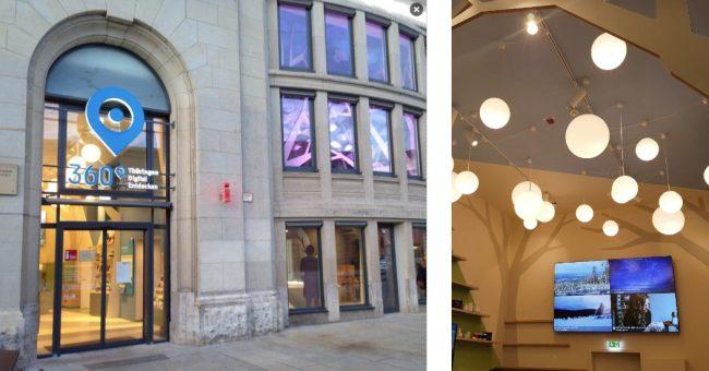 Eingang und Social Wall des Digital Showrooms der Thüringer Tourismus GmbH