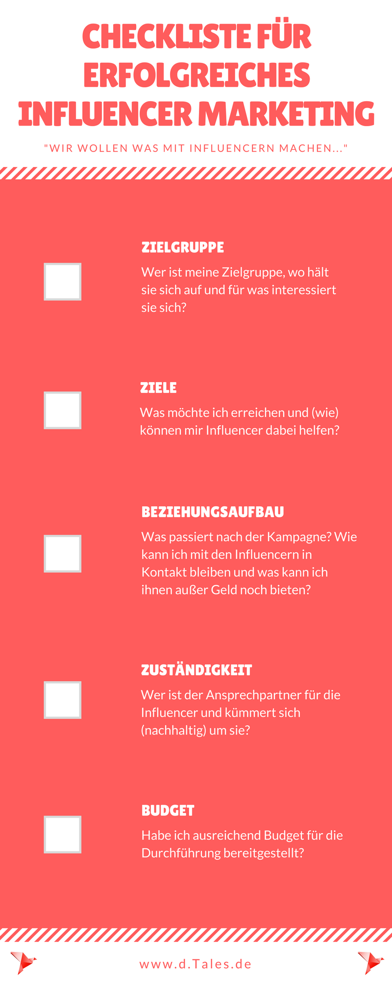 Infografik Checkliste für Influencer Marketing