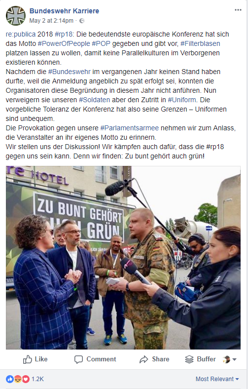 Screenshot Facebook Bundeswehr Karriere - Protest vor der re:publica