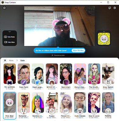 SnapCamera_Filterauswahl