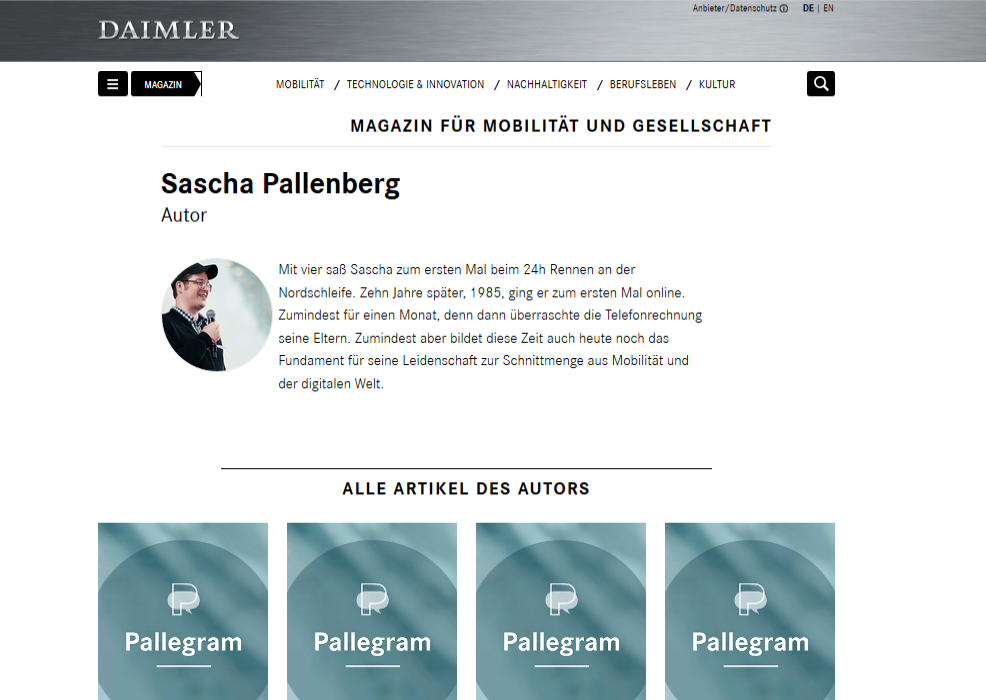Screenshot Daimler Magazin